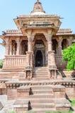 Ancient rock curved temples of Hindu Gods and goddess. At Mandore garden, Jodhpur, Rajasthan, India Royalty Free Stock Image