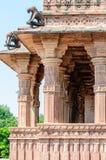 Ancient rock curved temples of Hindu Gods and goddess. At Mandore garden, Jodhpur, Rajasthan, India Stock Photos