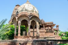 Ancient rock curved temples of Hindu Gods and godess Royalty Free Stock Images