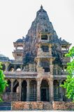 Ancient rock curved temples of Hindu Gods and godess Royalty Free Stock Photo