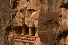 The ancient rock cut out balcony at Ellora Caves, India stock photo