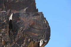 Ancient rock drawings petroglyph, different animals. Sarmish Gorge, Navoi Kermine, Uzbekistan Stock Image
