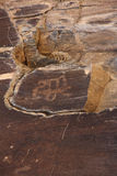 Ancient rock drawings petroglyph, horseriding Stock Images