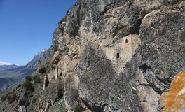 Ancient rock fortress in the Ursdon gorge, Russia Stock Image