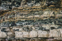 Ancient rock layers closeup view Stock Photo