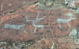 Ancient rock paintings Stock Photo