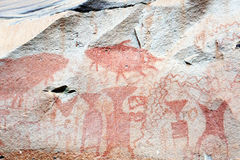 Ancient rock paintings in Pha Taem National Park Stock Photos