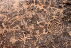 Ancient Rock with Spiral Petraglyph Stock Image