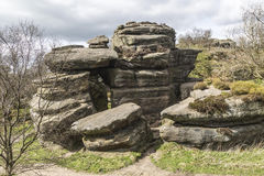 Ancient rock structure at Brimham Rocks in Yorkshire, England, UK. Ancient rock structure at Brimham Rocks, North Yorkshire, England, UK Stock Photography