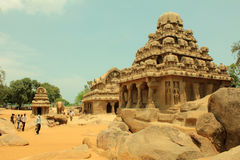 Ancient Rock Temple, Five Rathas , India stock photography