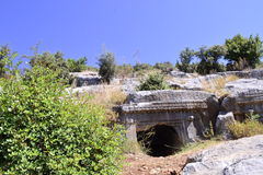 Ancient rock tomb Royalty Free Stock Images