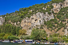 Ancient rock tombs in Dalyan. Stock Photos