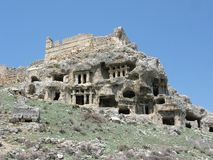 Ancient rock tombs in turkey tlos panorama Stock Photos