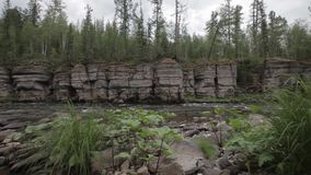 Ancient rocks deep in the taiga stock video