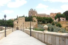 Ancient Roman Alcantara bridge,Toledo,Spain Royalty Free Stock Photo