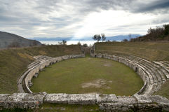 Ancient Roman Amphitheater at Alba Fucens, Italy. Stock Images