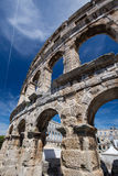 Ancient Roman Amphitheater and Church in Pula, Istria, Croatia Royalty Free Stock Photo