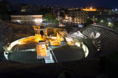 Ancient Roman amphitheater  in night time. Tarragona Royalty Free Stock Photography