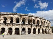 Ancient Roman Amphitheater in Nimes stock image