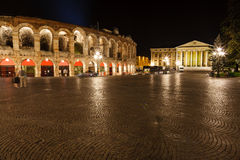 Ancient Roman Amphitheater on Piazza Bra Stock Photo