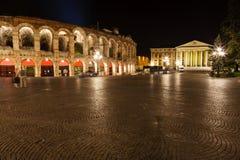 Ancient Roman Amphitheater on Piazza Bra Stock Photo