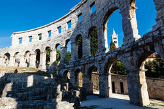 Ancient Roman Amphitheater in Pula Stock Image