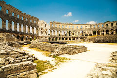 Ancient Roman Amphitheater in Pula, Croatia. Popular Touristic Destination of Istria at Adriatic Sea. Toned Photo Royalty Free Stock Photos