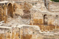 Ancient Roman amphitheater ruins in Tarragona, Spain Royalty Free Stock Photo