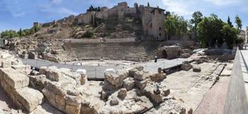 Ancient Roman amphitheatre ruins in Malaga, Spain Stock Photo