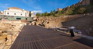 Ancient Roman amphitheatre ruins in Malaga, Spain. Stock Images