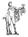 Ancient Roman Apollo statue, vintage engraving. Ancient Roman marble sculpture Apollo of the Belvedere, now in Vatican Museum Stock Image