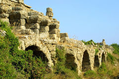 Ancient roman aqueduct. In Side, Turkey Royalty Free Stock Photo