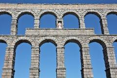 Ancient Roman aqueduct bridge of Segovia. Castilla Leon, Spain stock images