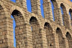 Ancient Roman aqueduct bridge of Segovia. Castilla Leon, Spain stock photography