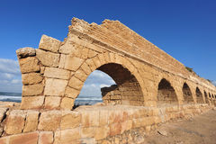 The Ancient Roman aqueduct of Caesarea Stock Photography
