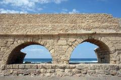 Ancient Roman aqueduct in Caesarea Royalty Free Stock Photography