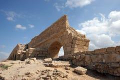 Ancient Roman aqueduct in Caesarea Stock Photos
