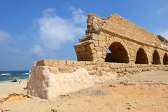 Ancient roman aqueduct at Ceasarea, Israel Royalty Free Stock Photography