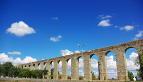 Ancient Roman aqueduct in Evora. Royalty Free Stock Photography