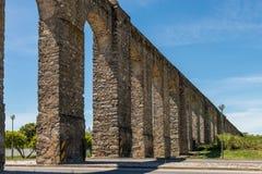 Ancient Roman aqueduct located in Evora. Stock Image