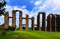 Ancient  roman aqueduct  in  Merida Royalty Free Stock Photography