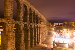 Ancient  roman aqueduct  in  night. Segovia Royalty Free Stock Photography
