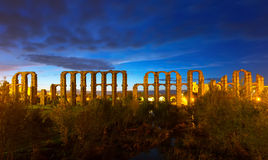 Ancient roman aqueduct in  night Royalty Free Stock Images