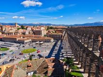 Strong Shadows, Ancient Roman Aqueduct, Segovia, Spain. The ancient Roman aqueduct in Segovia, Castile and Leon, Spain, casting strong afternoon shadows over Royalty Free Stock Images