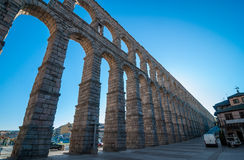 The ancient Roman aqueduct in Segovia. Royalty Free Stock Photography