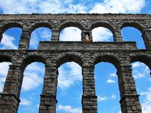 Roman aqueduct of Segovia in Spain. Ancient roman aqueduct in Segovia royalty free stock photos