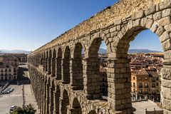 The aqueduct in Segovia Spain. The ancient roman aqueduct in Segovia Spain stock image