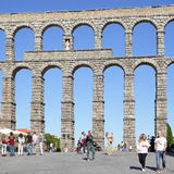 Ancient roman aqueduct in Segovia Stock Photo