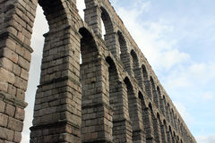 Ancient roman aqueduct in Segovia. Spain. Water Transportation royalty free stock photography