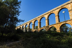 Ancient Roman aqueduct in Tarragona, Spain, sunset Stock Photography